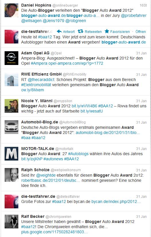 Tweets zum Blogger Auto Award
