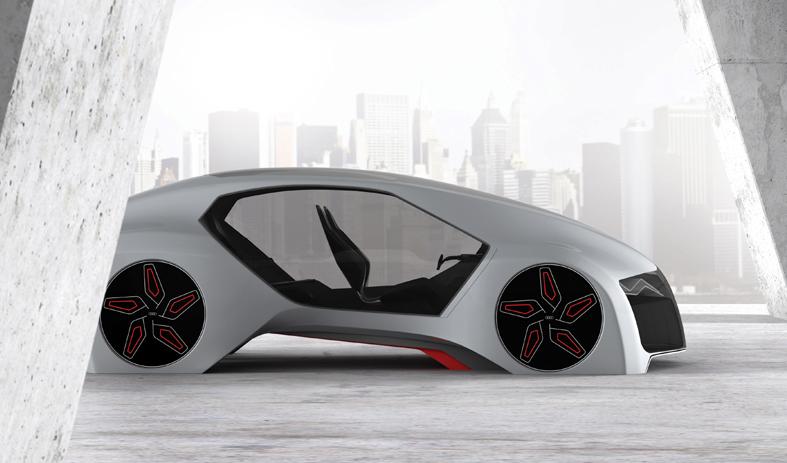 """Computeranimation des Designstudent Adrian Mankovecký von der Academy of Fine Arts and Design aus Bratislava zu seinem Projekt """"Wood Aerodynamics"""" für die Hochschulkooperation mit Audi."""