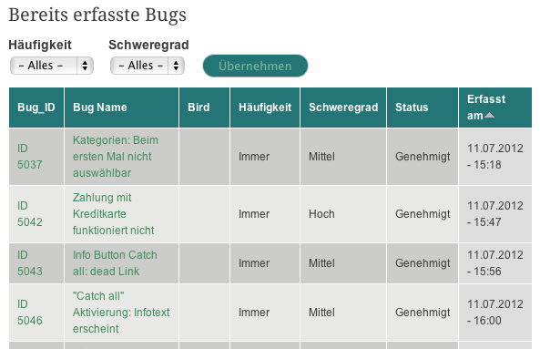 Bug-Reporting in der Testsuite (Quelle Testbirds GmbH)