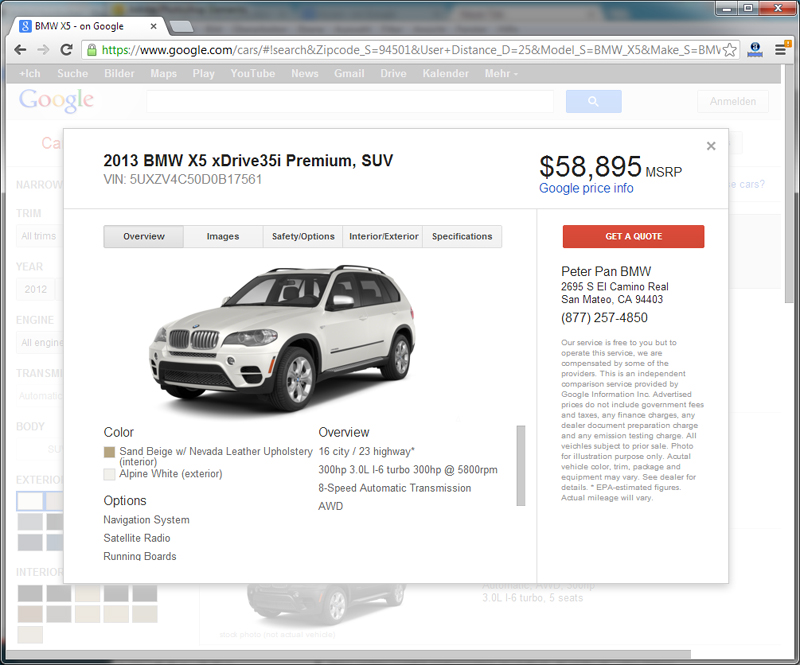 Google Cars - BMW X5 - Car Specs