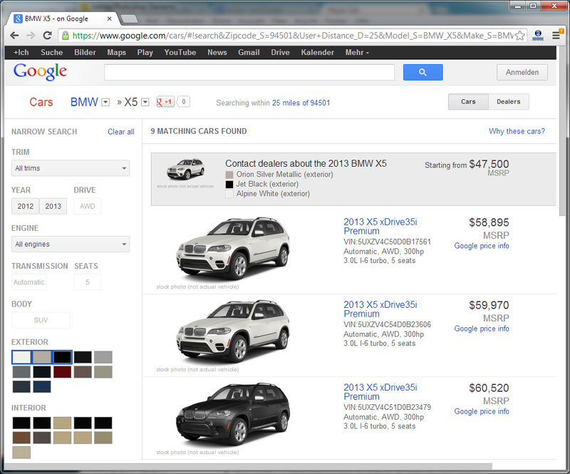 Google Cars - BMW X5 - Modell Selection