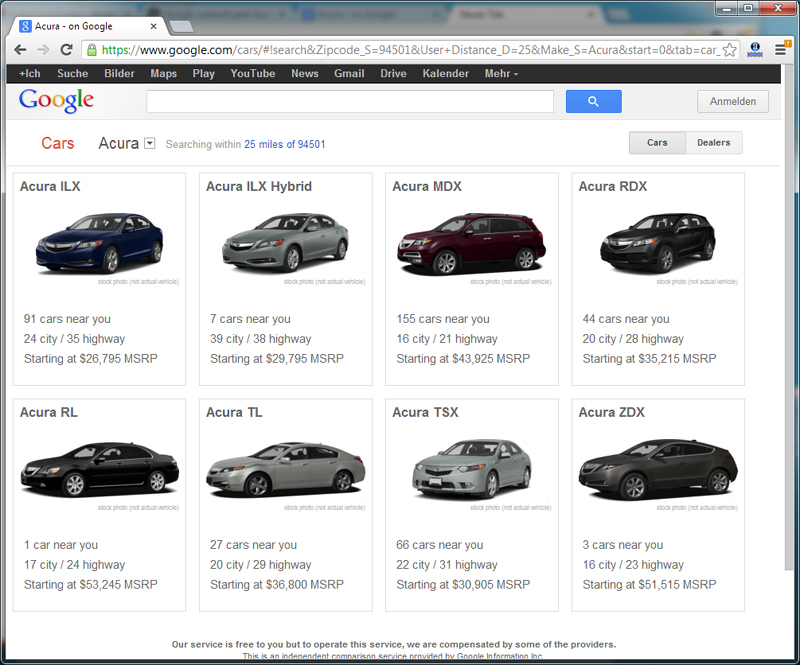 Google Cars - Homepage - Cars
