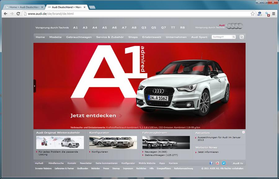 Altes Markenportal von Audi - Blogomotive