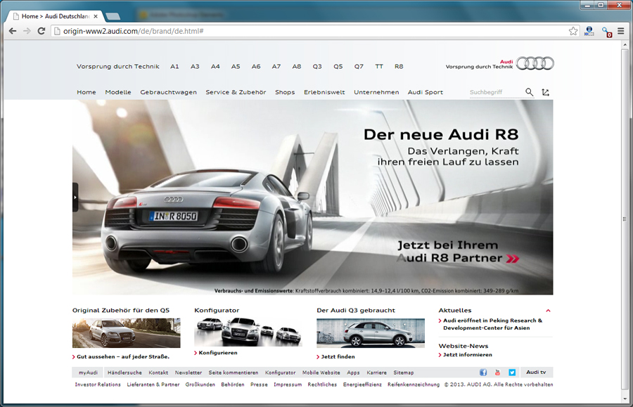 Facelift der neuen Audi-Website live.