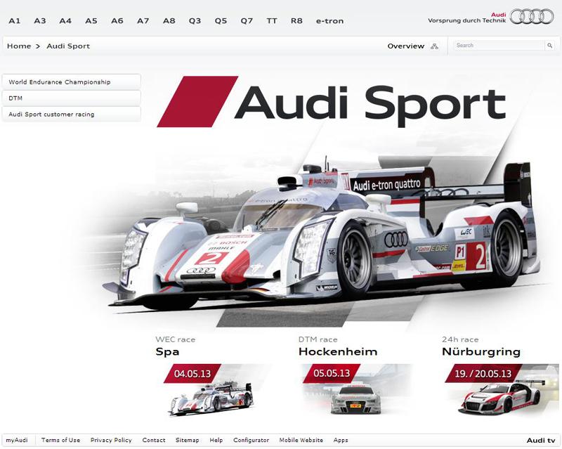 Audi Motorsportportal - bis Mai 2013