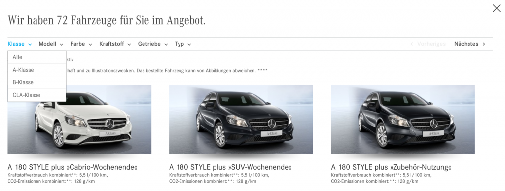 Online-Verkauf von Mercedes: Momentan 72 Fahrzeuge im Angebot