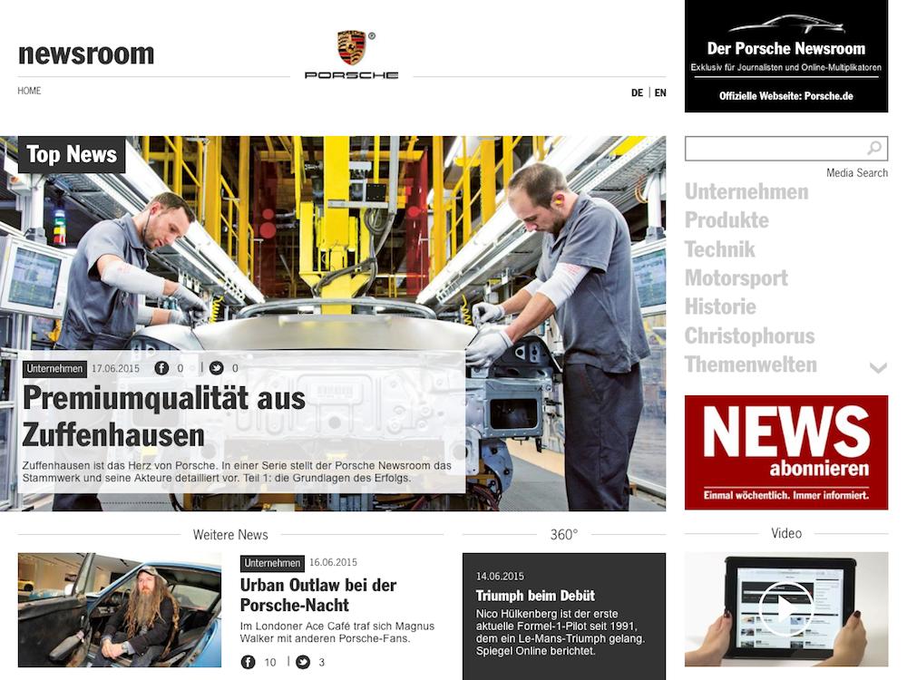 Porsche News im Porsche Newsroom (C3)
