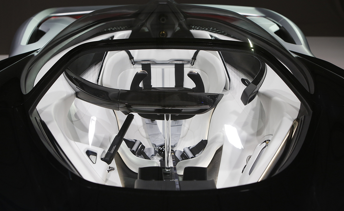 Faraday Future (FF) FFZERO1 Concept vehicle interior at FF's pre-CES reveal event in Las Vegas on Monday, Jan. 4, 2016. (Bizuayehu Tesfaye/ AP Images for Faraday Future)