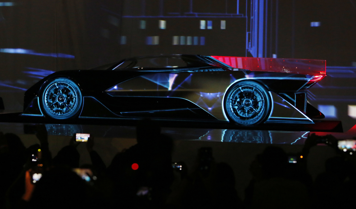Faraday Future (FF) FFZERO1 Concept vehicle is shown at FF's pre-CES reveal event in Las Vegas on Monday, Jan. 4, 2016. (Bizuayehu Tesfaye/ AP Images for Faraday Future)