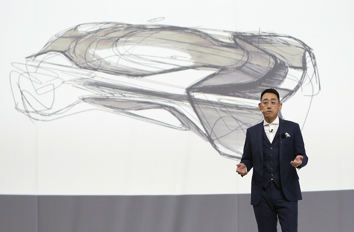 Richard Kim, Faraday Future Global Design Director, speaks during Faraday Future (FF) FFZERO1 Concept vehicle reveal event at FF's pre-CES, in Las Vegas on Monday, Jan. 4, 2016. (Bizuayehu Tesfaye/ AP Images for Faraday Future)