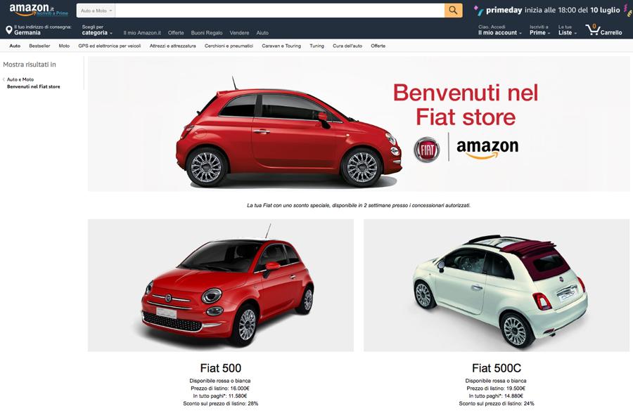 Drei Fiat-Modelle erstmals über Amazon in Italien erhältlich (Amazon.it)