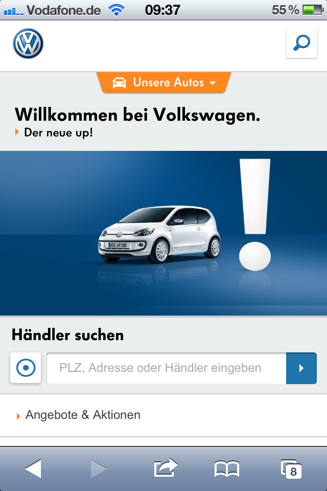 VW Mobile-Portal - Homepage