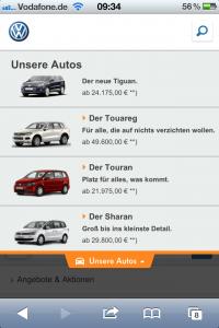 VW Mobile-Portal - Modellauswahl
