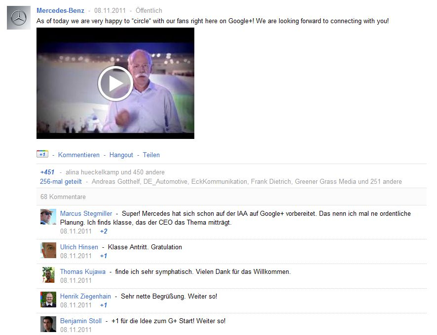 Dieter Zetsche auf Google+