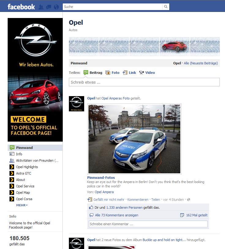 Opel Facebook Kanal - International