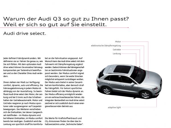 Audi eKatalog Q3 drive select