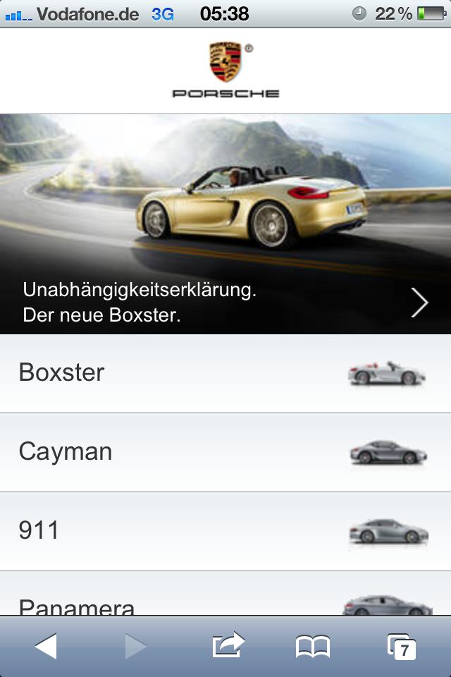 Porsche Mobile Brand Portal