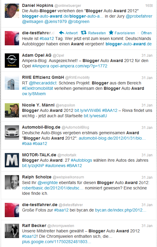 Tweets zum Blogger Auto Award