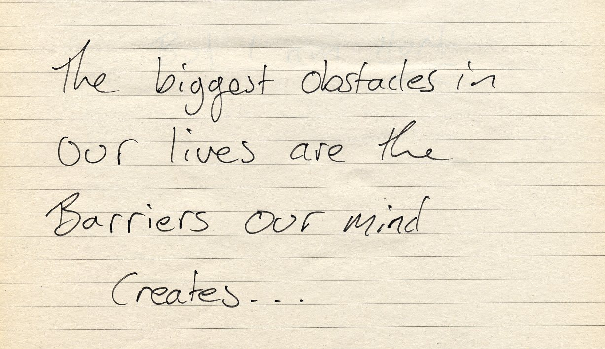 Obstacles in our mind