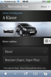 Mercedes-Benz Konfigurator Smartphone / iPhone
