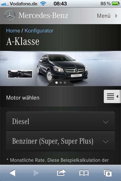 Mercedes-Benz Konfigurator Smartphone / iPhone