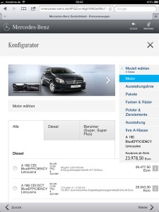 Mercedes-Benz Konfigurator Tablet / iPad