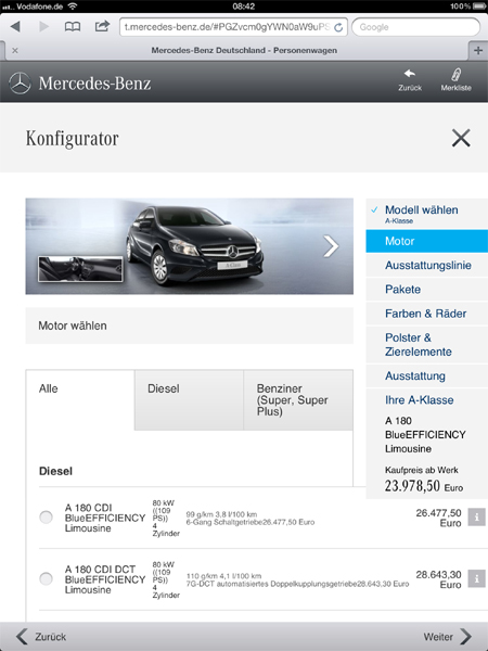 Mercedes-Benz Konfigurator Tablet / iPad