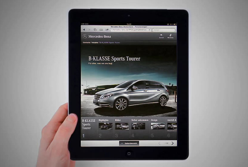 "Mercedes-Benz gewinnt Gold in Kategorie ""Mobile Website"" - Tablet"