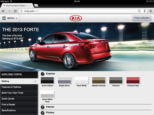 KIA Mobile Site (Screenshot)