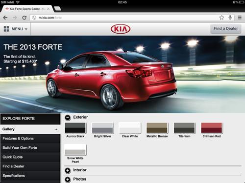 KIA Mobile Site (Screenshot)