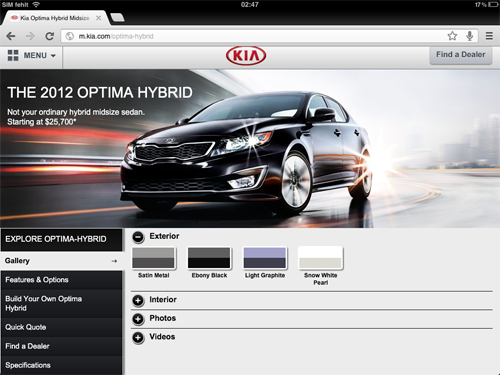 Kia.com Mobile Site
