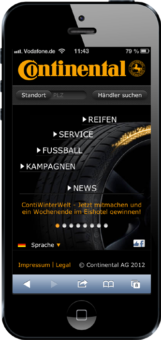 Continental Reifen Mobile-Site