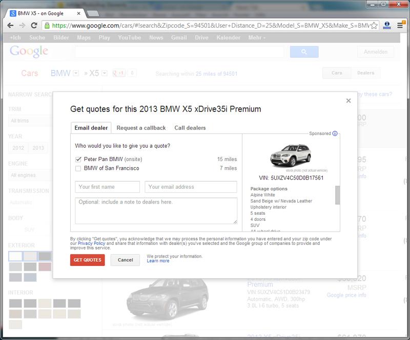 Google Cars - BMW X5 - Dealer Interaction