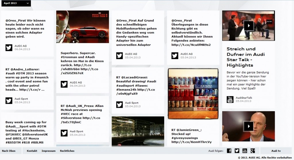 Themen in chronologischer Reihenfolge (Quelle: Audi)