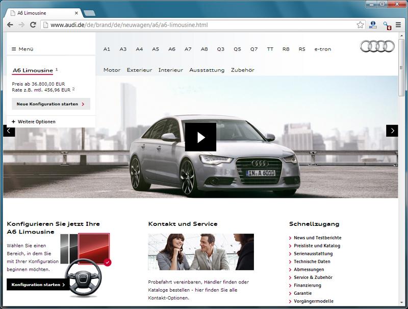Audi - neues Markenportal - Modell
