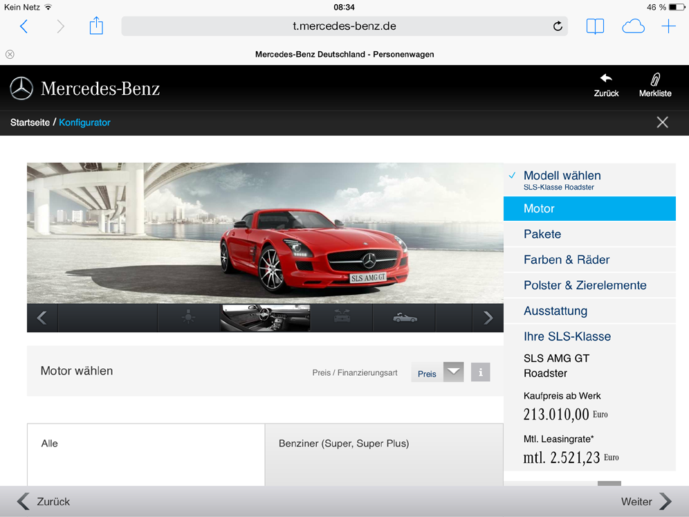 Einstieg in den alten Tablet-Konfigurator von Mercedes-Benz