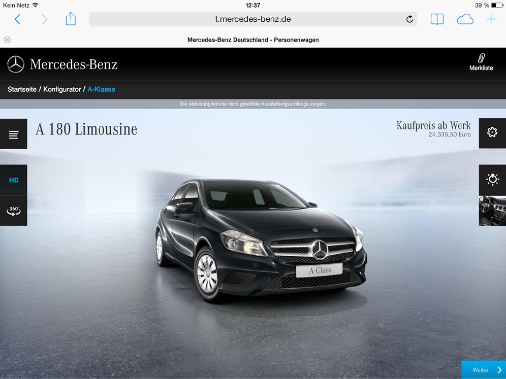 Einstieg in den neuen Tablet-Konfigurator von Mercedes-Benz