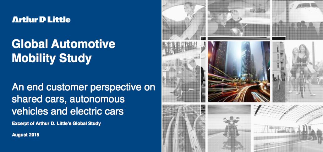 """Global Automotive Mobility Study"" von Arthur D. Little zu Autonomes Fahren, Elektromobilität und Car Sharing. (Arthur D. Little)"