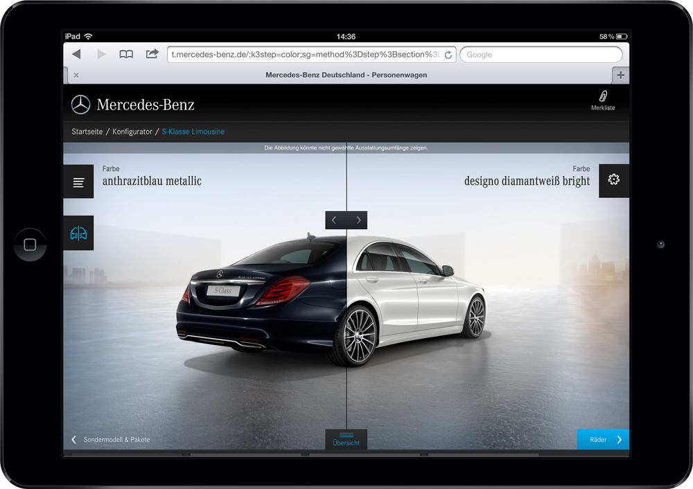 Mercedes-Benz PKW Tablet Konfigurator - Slider (Jung von Matt:next) Digital Transformation