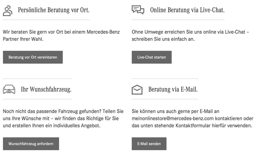 Mercedes-Benz Online-Store Kommunikationskanäle (Website Daimler)