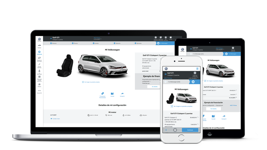Der neuer VW-Konfigurator in Spanien - Sitze (Website Screenshots)