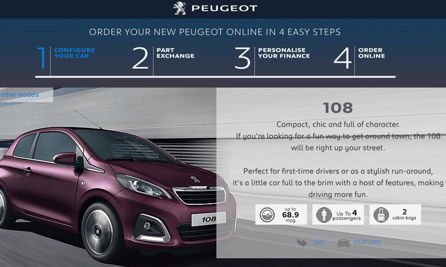 Neues Marketing Modell von PSA: Online-Verkauf von Neufahrzeugen in UK (Website Peugeot UK)